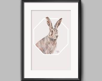 English Hare geometric poster print
