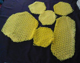 Vintage Yellow Knitted potholder 6 pieces