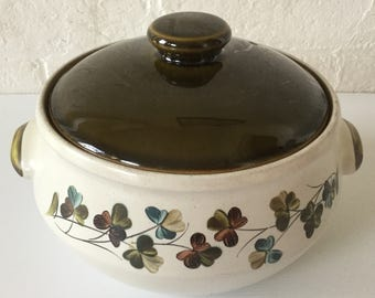 Denby Shamrock 4 pint tureen casserole dish with vented lid Vintage cookware English stoneware Denby pottery
