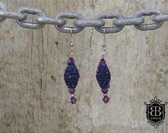 Earrings of Denim Jeans purple beads