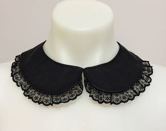 Black Pleather and Lace Collar