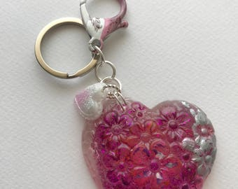 Resin heart keychain