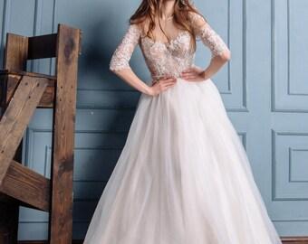 Alana Wedding Dress, Boho Wedding Dress, Simple Wedding Dress, Beach Wedding Dress, Long Sleeve Dress, Princess Gown, Fairy Wedding Dress