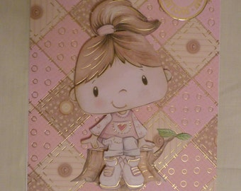 Girls Happy birthday decoupage card. Picture on front and back. A5