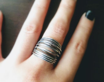 Sterling silver wrap ring in dark silver oxidized finish - wide silver ring - thick band ring - middle finger ring - modern jewelry