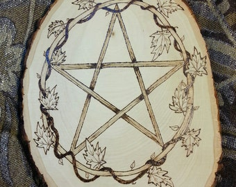 Wood Burned Pentacle with Vines