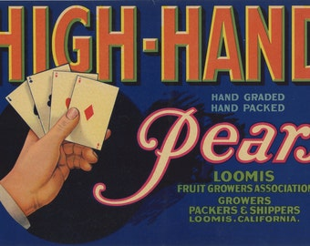 High-Hand Pears Crate Label