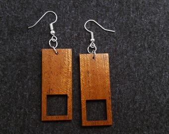 Rectangle and square wood earrings, mahogany and silver 0065