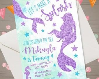 Mermaid Birthday Invitation Glitter Mermaid Invitation Under the Sea Party Invite Under the Sea Invitation Mermaid Tail Swim Birthday Party