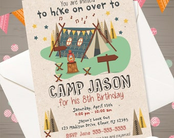 Camping Birthday Invitation Boy Party Camp Out Backyard Campout Outdoor