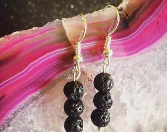 Lava Stone Drop Earrings
