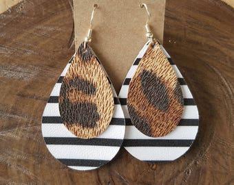 Black and white stripe, cheetah, leopard print, genuine leather, nickel free hooks, teardrops, statement earrings