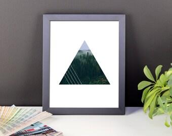 Framed Foggy Forest Triangle Geometric Wall Art