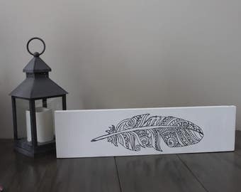 White boho feather sign