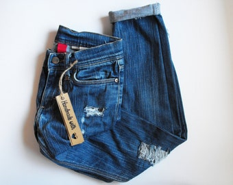 blue vintage diy jeans low waist ripped distressed destroyed jeans