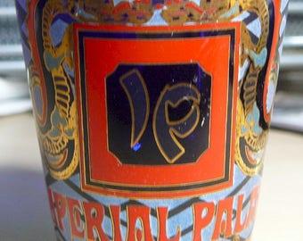 Vintage IMPERIAL PALACE Shot Glass Deep Blue Gilt Dragons