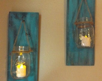 Rustic Wood Mason Jar Sconces, Turquoise Distressed Wood, Sold as Pair