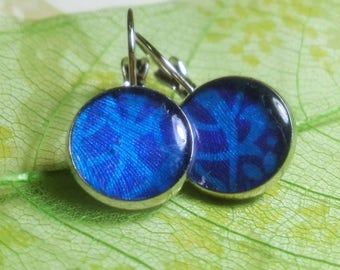 Blue sky earrings epoxy resin decorations handmade gift girl blue dress