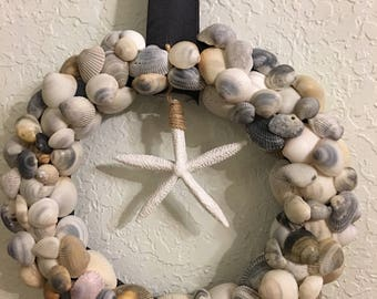 Seashell wreath, summer wreath , coastal designs, nautical decor , beach decor