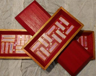 RESERVED - Red and Gold East Asian-Themed Fortune Trays