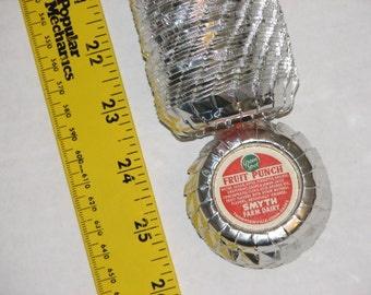 Many vintage foil milk bottle caps from Smyth Farm Dairy in Thompsonville Connecticut (CT),   w/gospel tract.