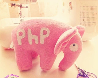 Artisan interior toy, PhP elephant toy ~ plush toy elephant, stuffed toy elephant, gift for programmer, php toy