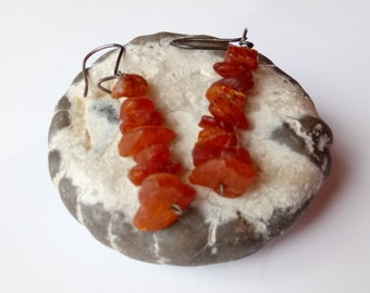 Earrings made of amber.