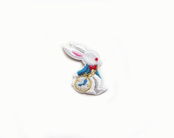 1x white rabbit PATCH custom Iron On Embroidered Applique cartoon Disney caracter clock classic Alice in Wonderland kid bunny
