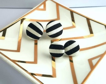 Mommy and Me Black Stripe Fabric Button Earrings Steel Studs with Butterfly Back