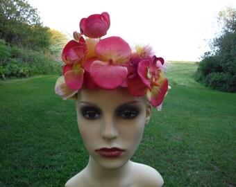 festival flower and feather headdress
