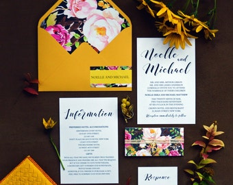 Printable Wedding Invitation, Floral Wedding, Invitation Suite, Wedding Stationery, Bohemian Wedding, Belly Band, Invitation Template