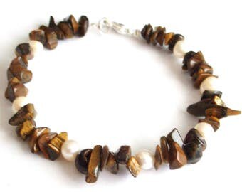Courage bravery self-confidence security clarity will bracelet Tiger eye natural Pearl white beads semi precious stones silver