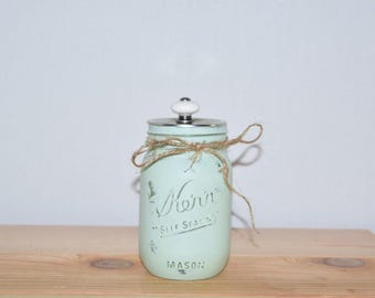 Rustic Hand Painted and Distressed Mason Jar, Container with lid, Counter top storage Mason Jar, Home Decor, Gift, Shabby Chic