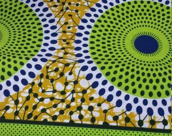 Neon Green, White (nsubura mix) WaxPrint/African Print/ Wax print