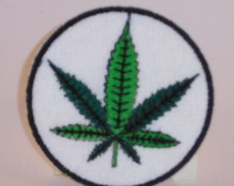 Weed leaf embroidered patch