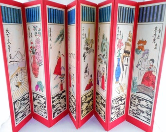 Korean Mini Tiny Table Top 8 Panel Folding Screen Byung Poong Vtg 17""