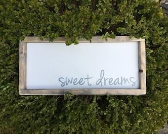 Sweet Dreams Rustic Framed Nursery Sign