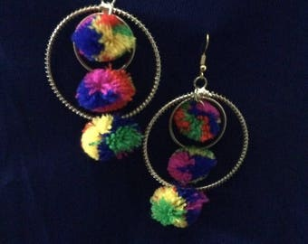 Multicolors Pompon Earings