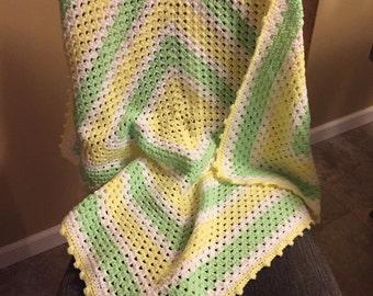 "Granny Yellow/Green/White Crochet Baby Blanket - 35"" x 35"""