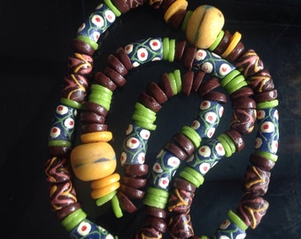 Ghana Krobo Beads, Cultural Beads, Green/Brown/Yellow Beads, Mixed Beads, Recycled Glass Beads, Hand Painted Glass Beads, Long Strand Beads