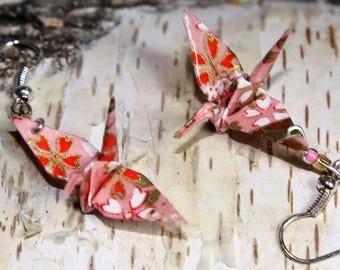 "Origami Kranich ""Tsuru "" Ohrringe rosa"