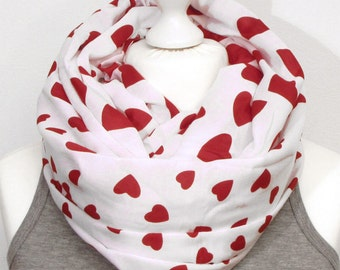 LOOP scarf SNOOD heart heart white red