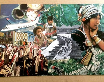 """Mixed Media Original Collage """"Steps"""" On Paper, National Geographic collage, Vietnam"""