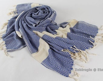 Royal Blue Towel, Hand-loomed Peshtemal Towel, Turkish Peshtemal, Blue Beach Towel, Handmade Towel, Turkish Beach Towel, Cotton Peshtemal