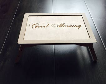 Personalized Wood Serving Tray Engraved Monogram Rustic Breakfast in Bed Tray Table Folding Legs Home Bedroom Decor New Homeowner Gift