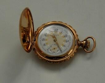 Ladies Vintage Pocket Watch, 1904 Elgin Pendant Watch, 15J, 14K Gold Filled Case, Womens Gold Pendant Watch, Hunter Case Watch, Elgin Watch