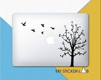 Autumn Tree MacBook Sticker Tree MacBook Sticker Flock Of Birds Sticker Tree Decal Autumn Trees Black Bird Flower Nature Silhouette m680