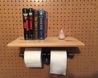 Industrial look duel toilet paper holder with shelf