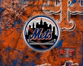 New York Mets Poster, New York Mets Artwork Gift, Mets Layered Man Cave Art