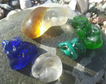 Sea worn bonfire glass collection sea glass unique surf tumbled bonfire sea glass cobalt blue sea glass rare beach finds
